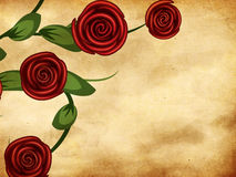 Roses on grunge paper Stock Images