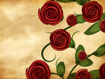 Roses on grunge paper Royalty Free Stock Image