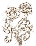 Roses grunges d'encre Photos stock