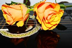 Roses and a guitar, symbols. Yellow roses and their reflections on the strings of a guitar, evoking joy and love songs royalty free stock photography