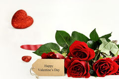Roses and Happy Valentines Day Card Royalty Free Stock Photo