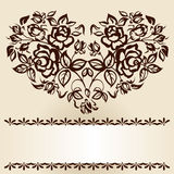 Roses and heart. The branches of roses in heart shape. Vintage Royalty Free Stock Photos