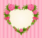 Roses with heart on background Royalty Free Stock Photo