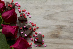 Roses Heart Cookies and Sprinkles Royalty Free Stock Photography
