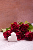 Roses with heart decoration for wedding Royalty Free Stock Photo