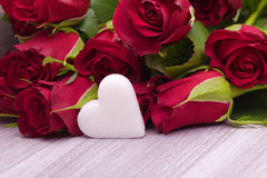 Roses with heart decoration for wedding Stock Image