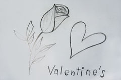 Roses and heart drawing for Valentine's event Royalty Free Stock Photography