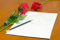 Roses and heart drawing for Valentine's event Stock Image