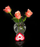 Roses and heart from fabric Royalty Free Stock Images