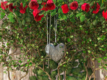 Roses and a heart with key on wooden board Stock Photography