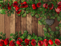 Roses and a heart with key on wooden board Royalty Free Stock Image