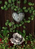 Roses and a heart with key on wooden board Stock Images