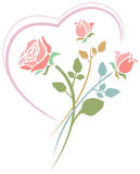 Roses with heart. Line art design Royalty Free Stock Image