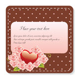 Roses and heart note Royalty Free Stock Photos