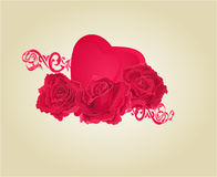 Roses and heart and ornaments vector Royalty Free Stock Image