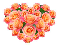 Roses in a heart shape Royalty Free Stock Photography