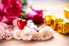 Roses, heart shape and gift boxes Royalty Free Stock Image