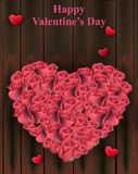 Roses heart shape on wood background Vector. Valentine day cards. Roses heart shape on wood background Vector. Valentine day card Royalty Free Stock Photography