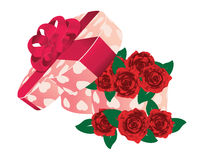 Roses in heart shaped box Stock Photo