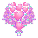 Roses and Hearts arranged in a heart shaped pattern. St Valentine`s day festive design Stock Photos