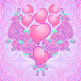 Roses and Hearts arranged in a heart shaped pattern. St Valentine`s day festive design Stock Photo
