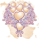 Roses and Hearts arranged in a heart shaped pattern. St Valentine`s day festive design. Tattoo or wedding decor design element. EPS 10 vector illustration Stock Photography