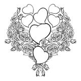 Roses and Hearts arrenged in a heart shaped pattern. St Valentine`s day festive design. Tattoo or wedding decor design element. EPS 10 vector illustration Royalty Free Stock Images