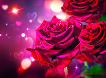 Roses and hearts background. Valentines day stock images