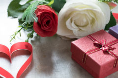 Roses and a hearts on board, Valentines Day background, wedding Royalty Free Stock Image
