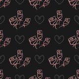Roses and hearts painted fine brush lines. Seamless pattern. Royalty Free Stock Images