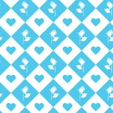 Roses and hearts seamless background - pattern for continuous replicate in light blue color. vector illustration