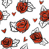 Roses and hearts seamless pattern Stock Photos