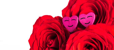 Roses and hearts Stock Images