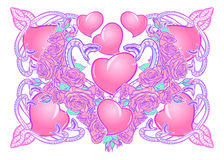 Roses hearts and snakes arranged in a square pattern. St Valentine`s day festive design. Roses hearts water swirls and snakes arranged in an intricate square Royalty Free Stock Image