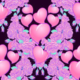 Roses and Hearts St Valentine`s day festive seamless pattern. Roses and Hearts seamless pattern. St Valentine`s day festive design isolated on black background Stock Photo