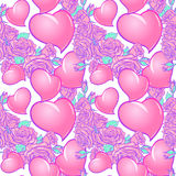 Roses and Hearts St Valentine`s day festive seamless pattern. Roses and Hearts seamless pattern. St Valentine`s day festive design isolated on white background Stock Photos