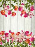 Roses and a hearts on wooden board. EPS 10 Royalty Free Stock Images