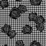 Roses with houndstooth background. Vintage floral vector seamless pattern stock illustration