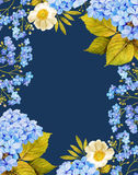 Roses, Hydrangea flower watercolor frame composition Stock Image