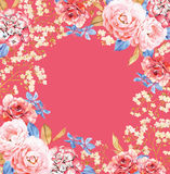 Roses, Hydrangea flower watercolor frame composition on red Royalty Free Stock Photos