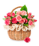Roses In A Wicker Basket Stock Photography