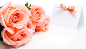 Roses and invitation card Royalty Free Stock Photography
