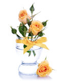 Roses jaunes dans un verre. images libres de droits