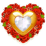 Roses and jewelry. In the shape of heart Stock Photos