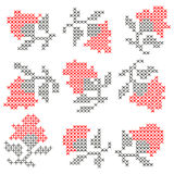 Roses knitted elements Royalty Free Stock Image
