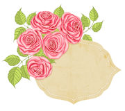 Roses and label Royalty Free Stock Image