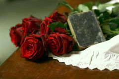 Roses, lace and prayer book still life 2. Stock Photo