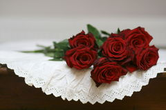 Roses and lace on table still life 1. Stock Images