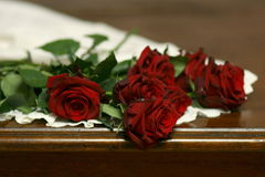 Roses and lace on table still life 5. Red roses on white lace Royalty Free Stock Photo