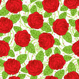 Roses and leaves. Seamless pattern with red roses and leaves Royalty Free Stock Photo